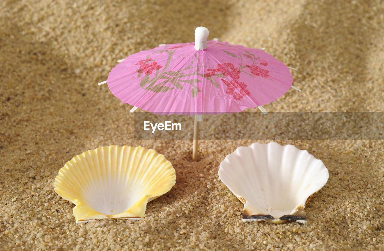 CLOSE-UP VIEW OF UMBRELLA ON BEACH