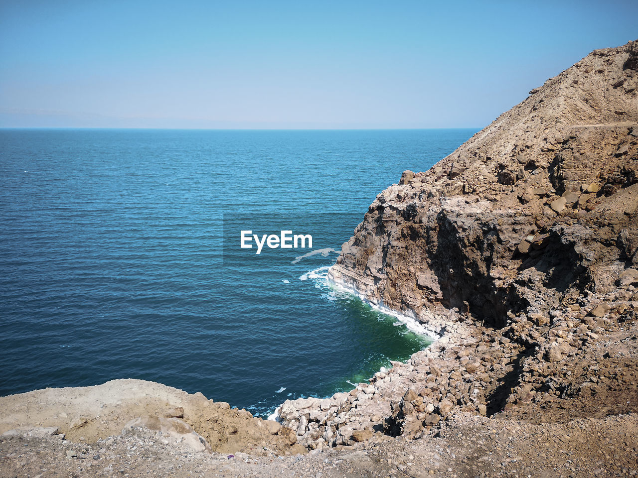 Scenic view of sea against clear sky. the dead sea from the jordanian coast.