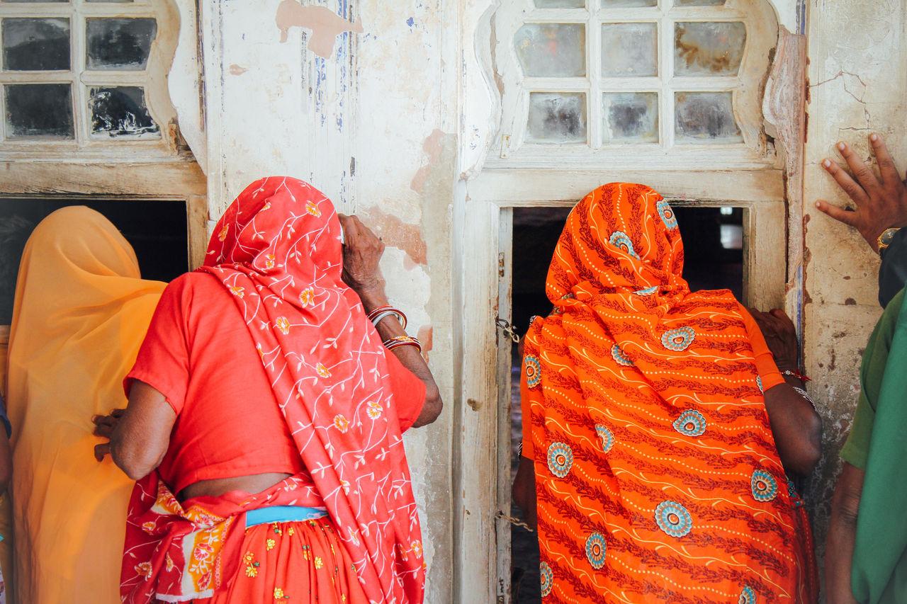 Rear View Of Women In Sari
