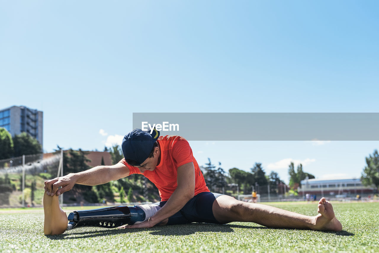 Man With Prostethic Leg Stretching