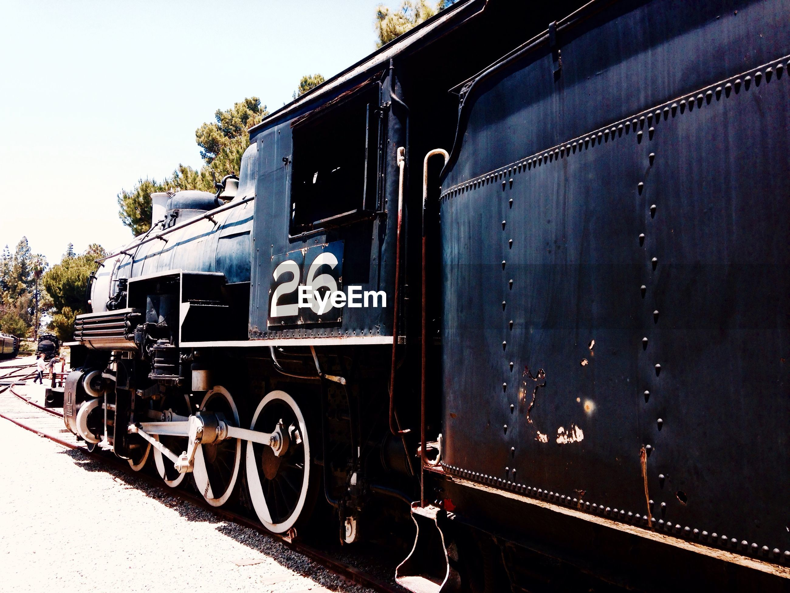 View of steam train on track