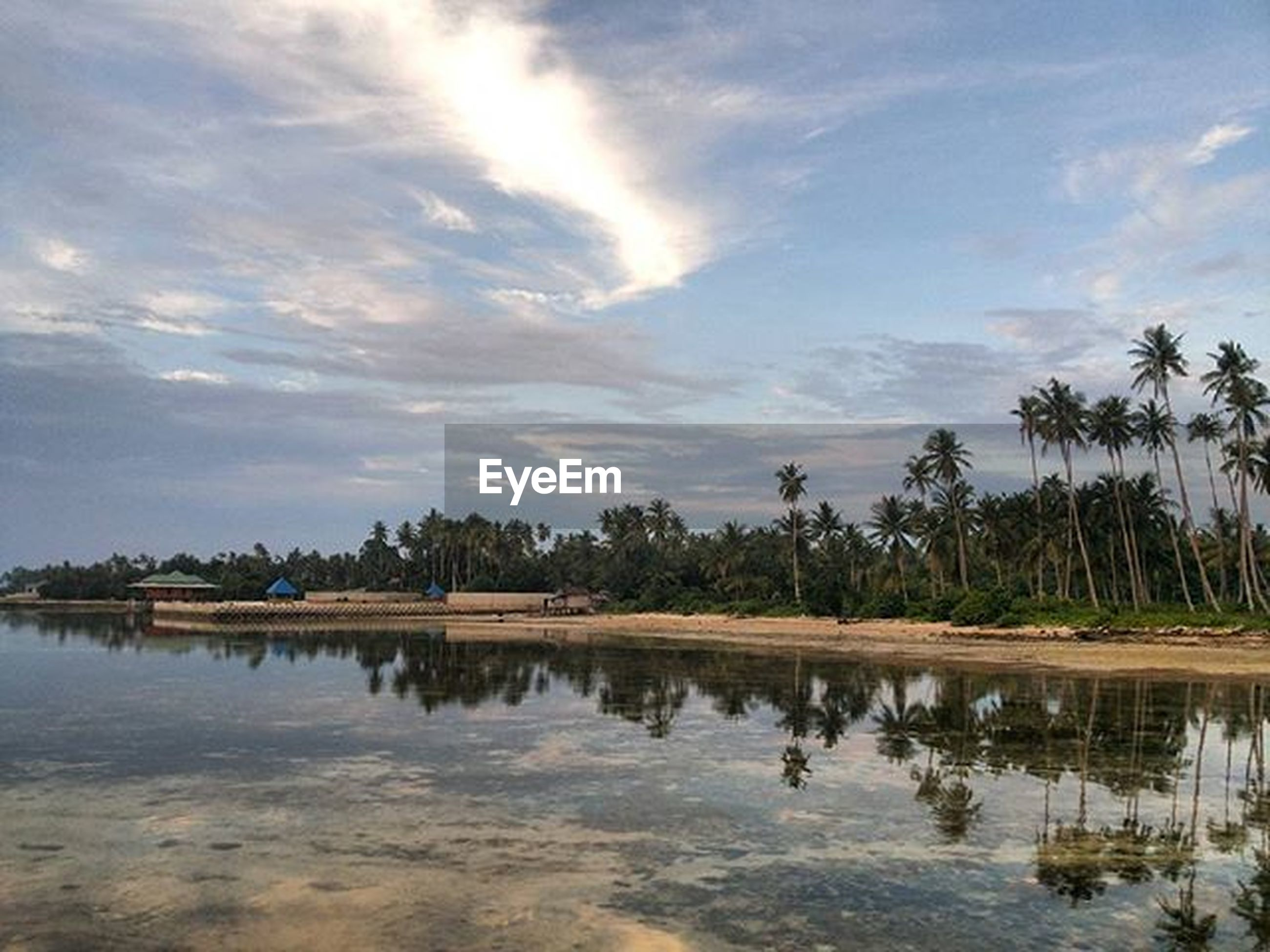 water, tranquility, tranquil scene, sky, tree, reflection, scenics, beauty in nature, lake, waterfront, cloud - sky, nature, cloud, idyllic, calm, palm tree, silhouette, standing water, non-urban scene, cloudy