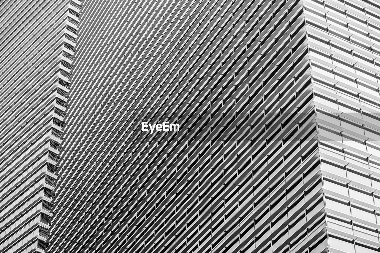 pattern, full frame, backgrounds, built structure, architecture, no people, building exterior, metal, repetition, textured, in a row, day, modern, silver colored, close-up, building, office, striped, office building exterior, low angle view