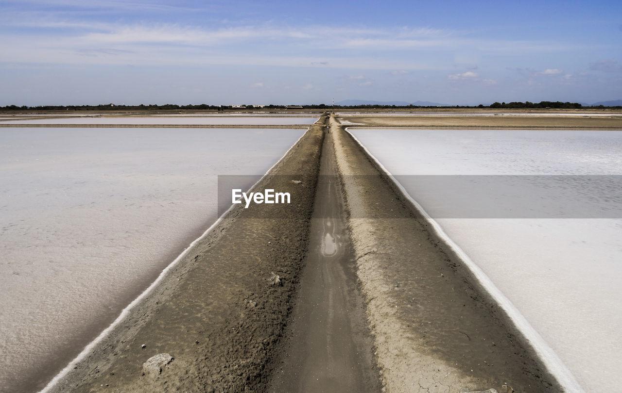 View of salt farm, thailand