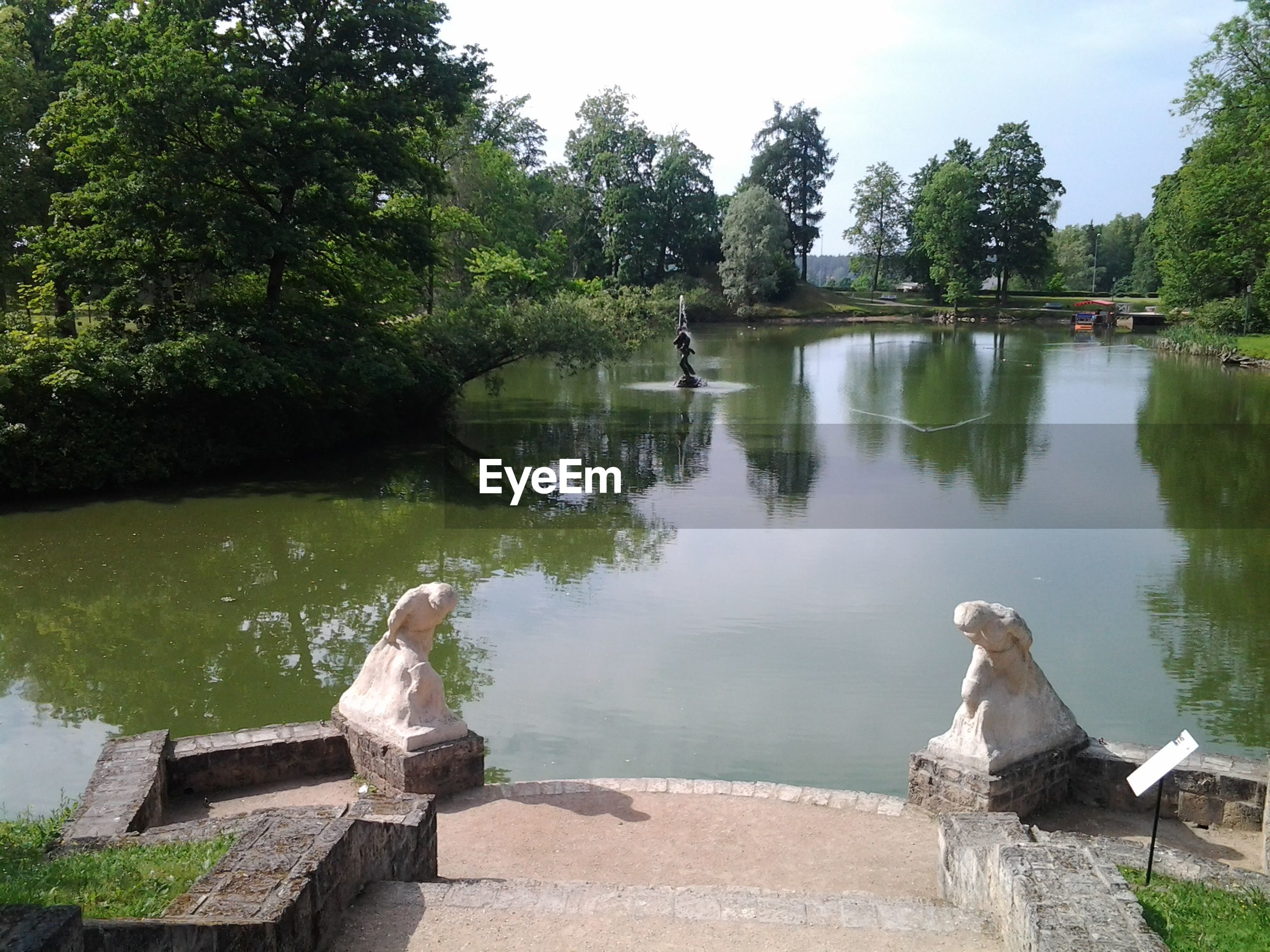 water, tree, lake, statue, sculpture, reflection, tranquility, nature, art and craft, pond, sky, green color, animal representation, day, human representation, park - man made space, art, tranquil scene, beauty in nature, outdoors