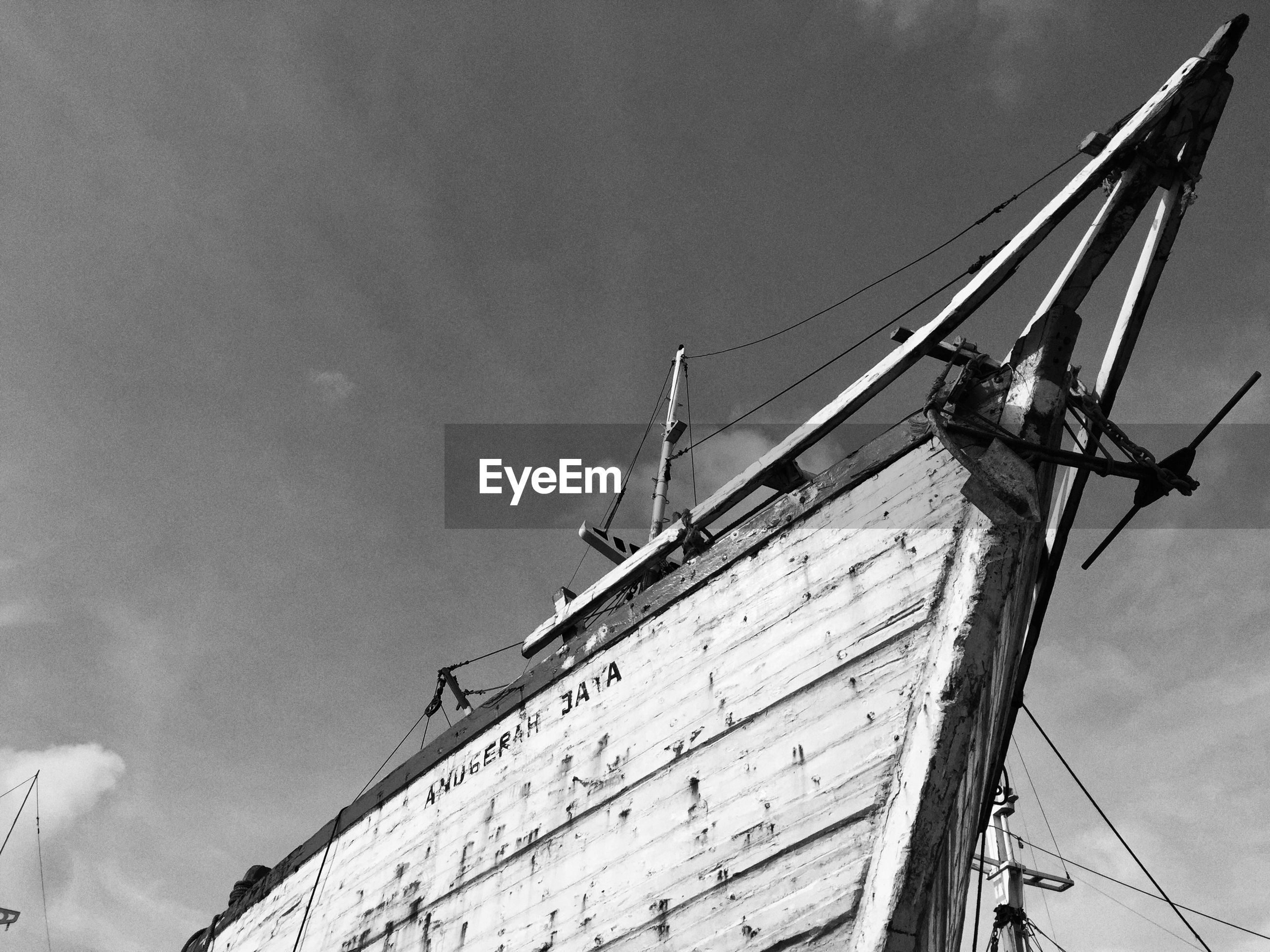 Low angle view of boat against sky
