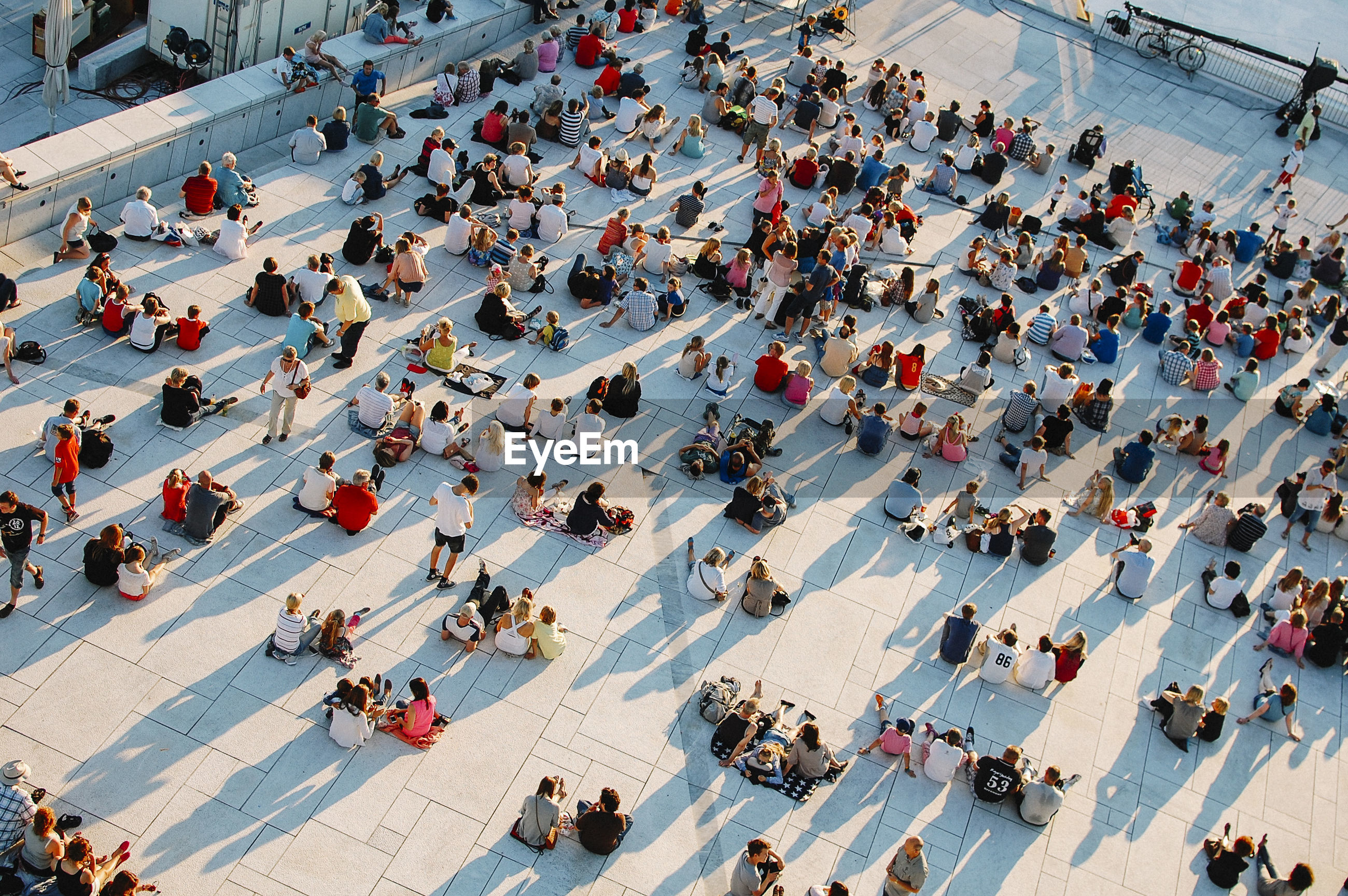 High angle view of people sitting at oslo opera house
