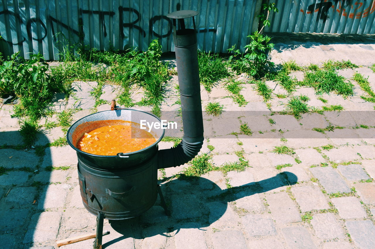 High angle view of food in camping stove