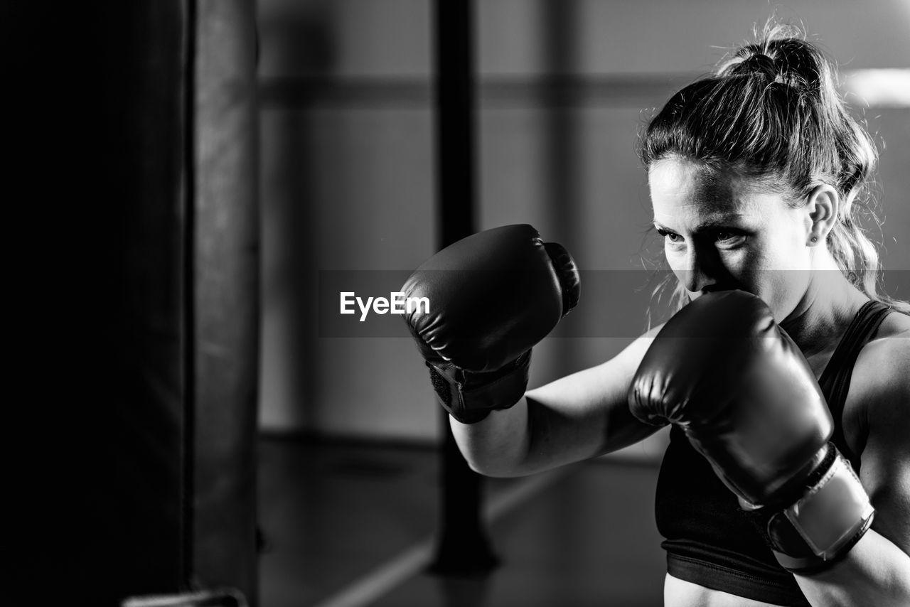 Woman on boxing training