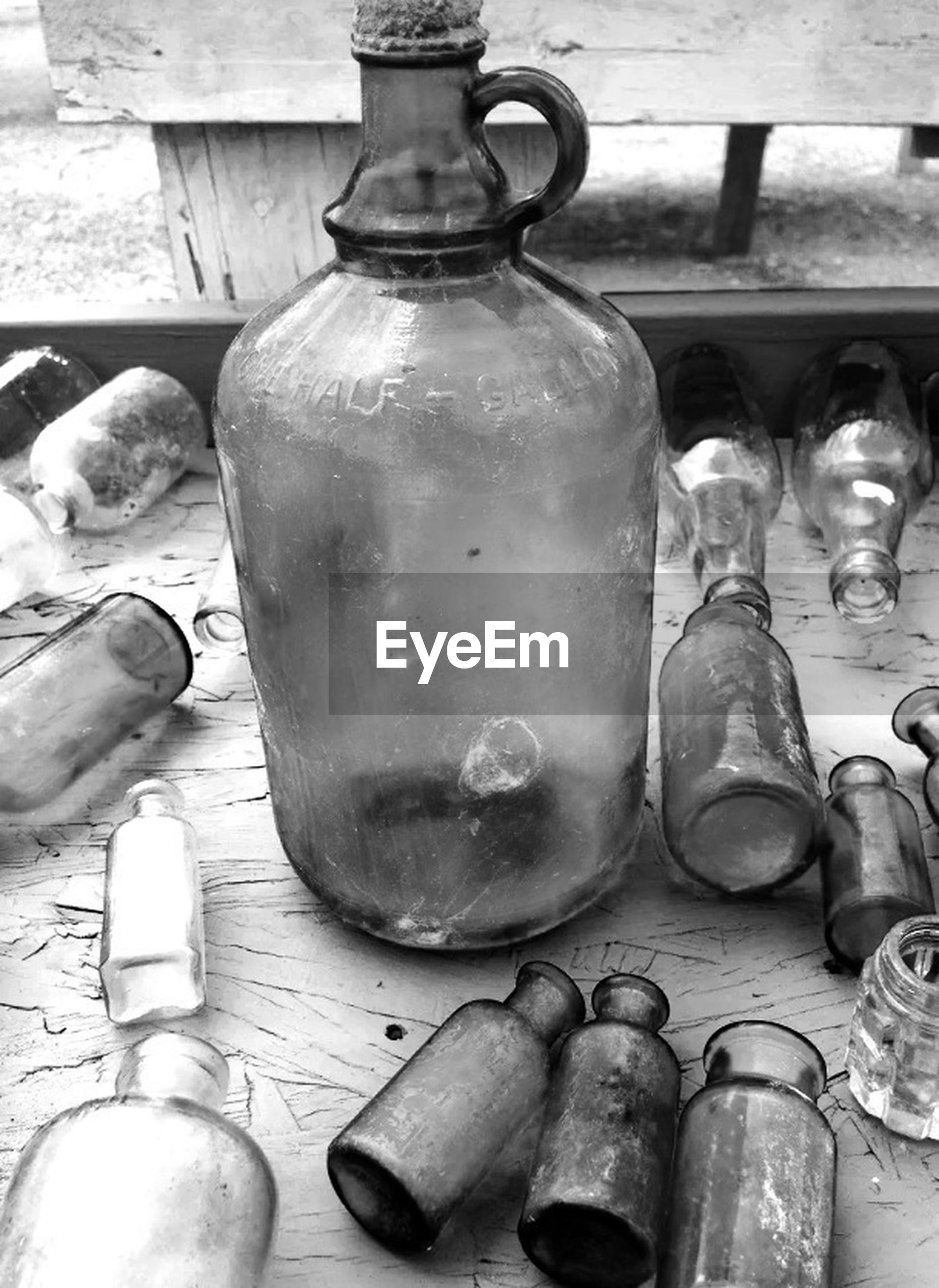 Old empty bottles and jar