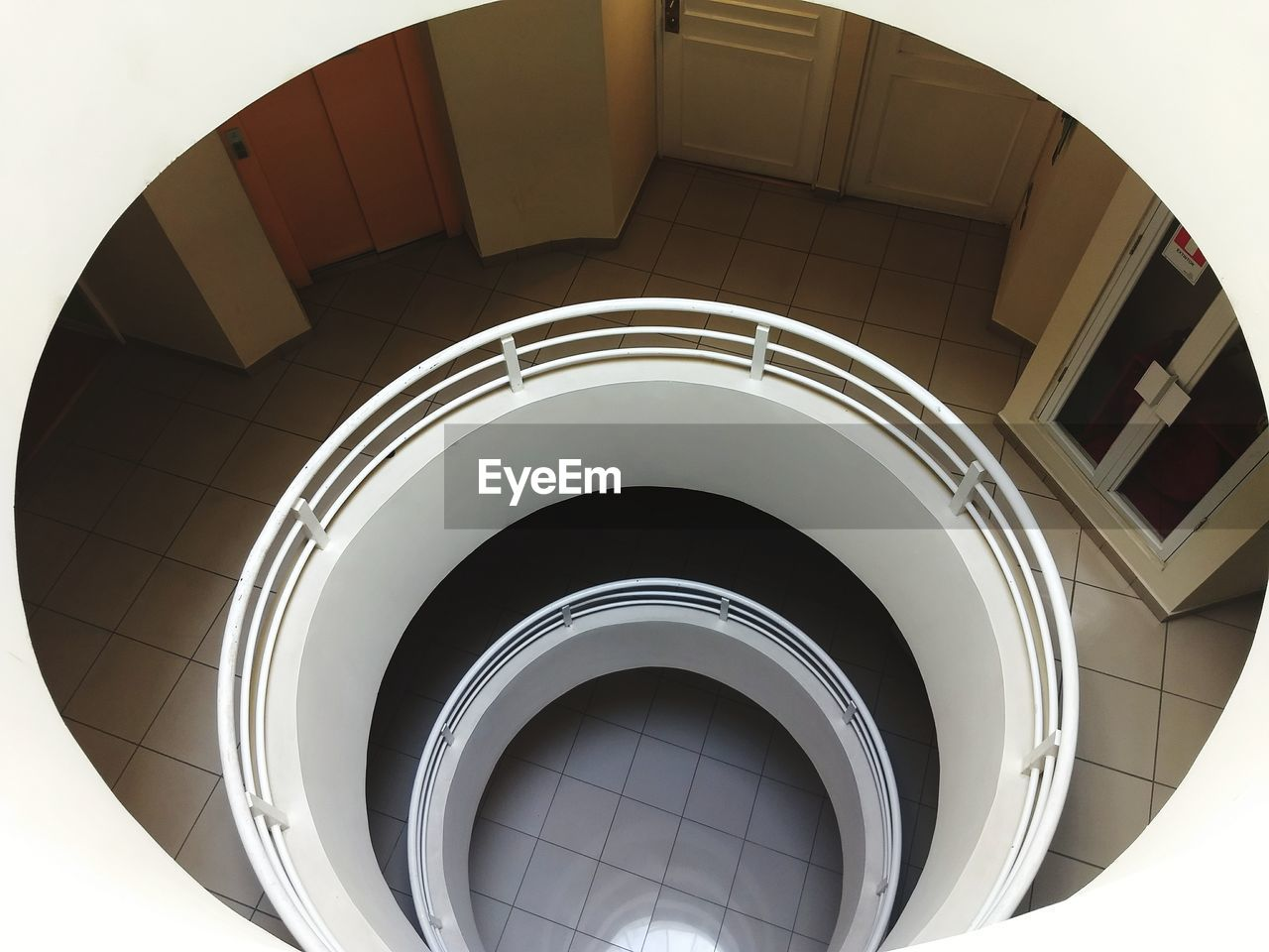 Directly above shot of spiral staircase