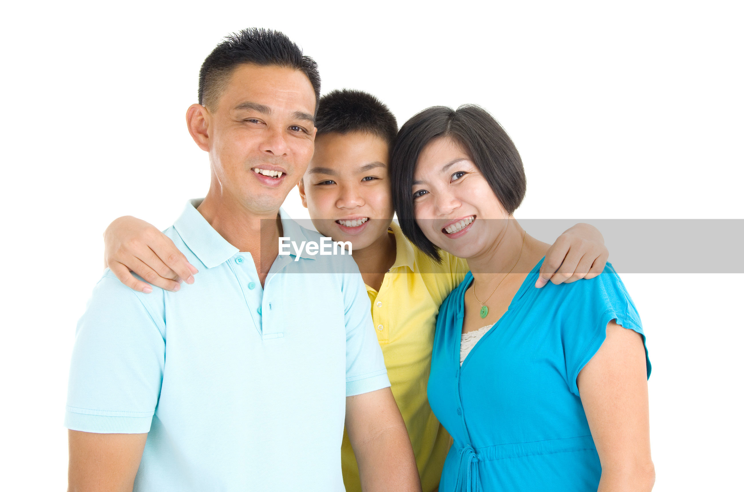 Happy family against white background