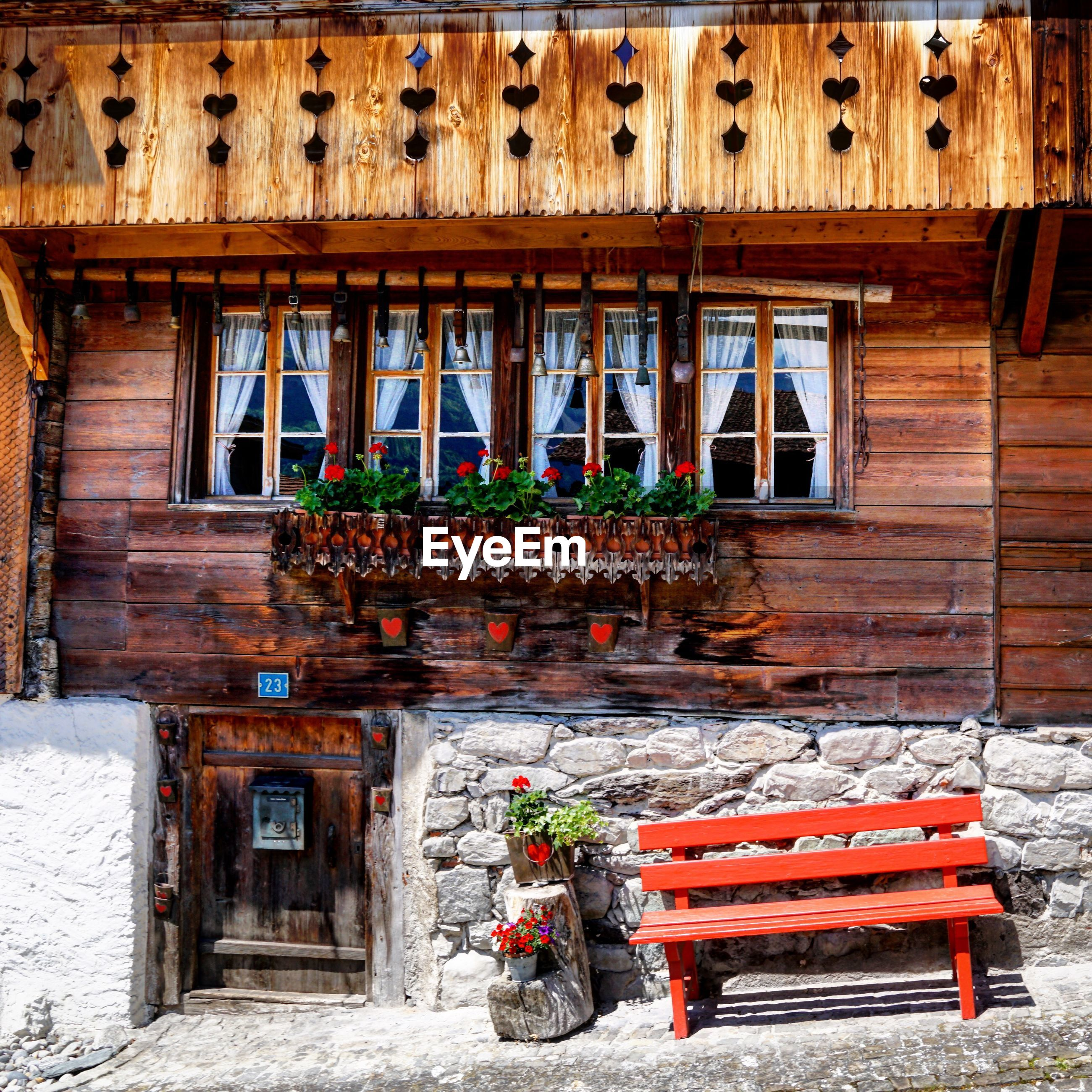 Wooden house in town