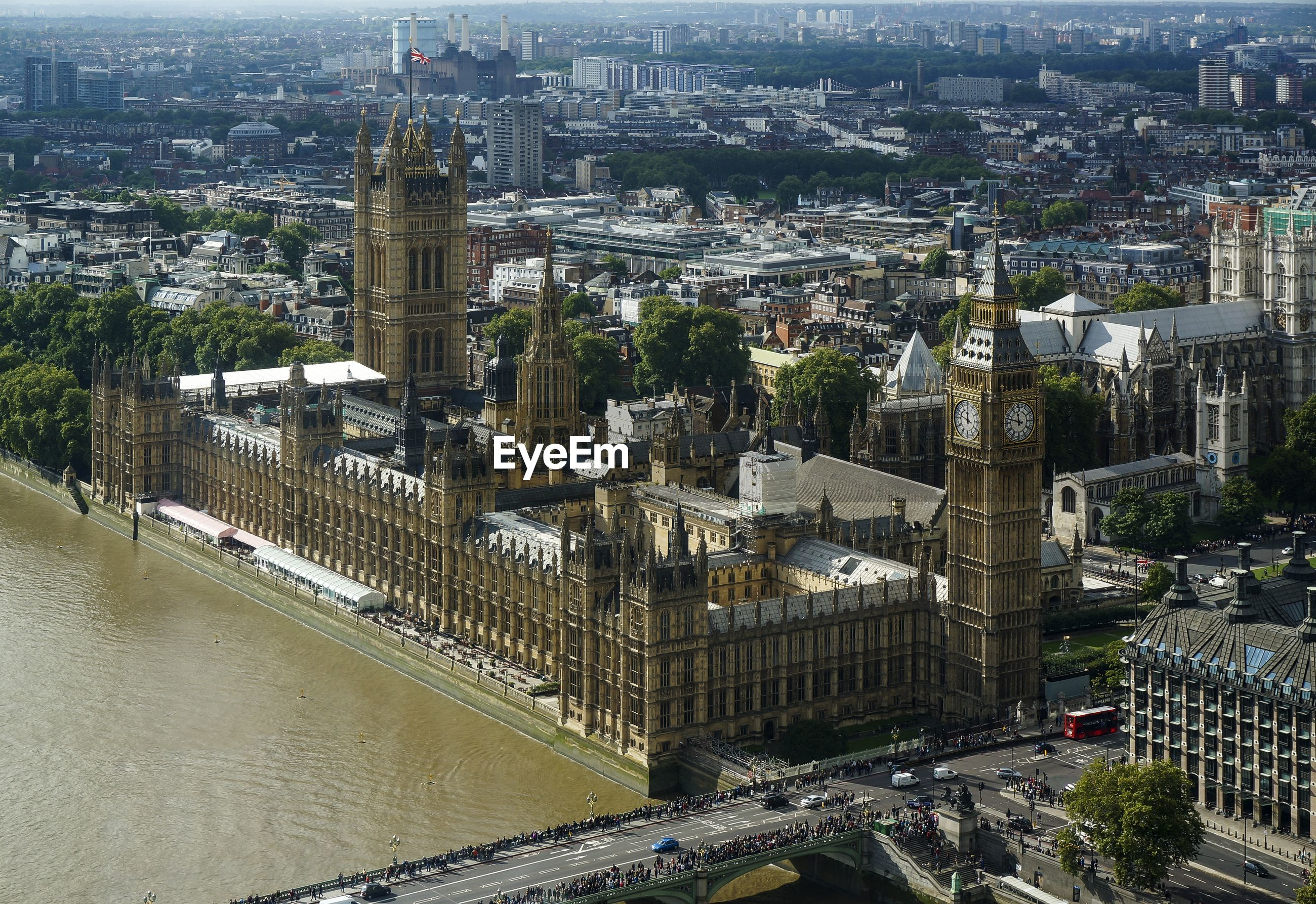 Aerial view of big ben in city on sunny day