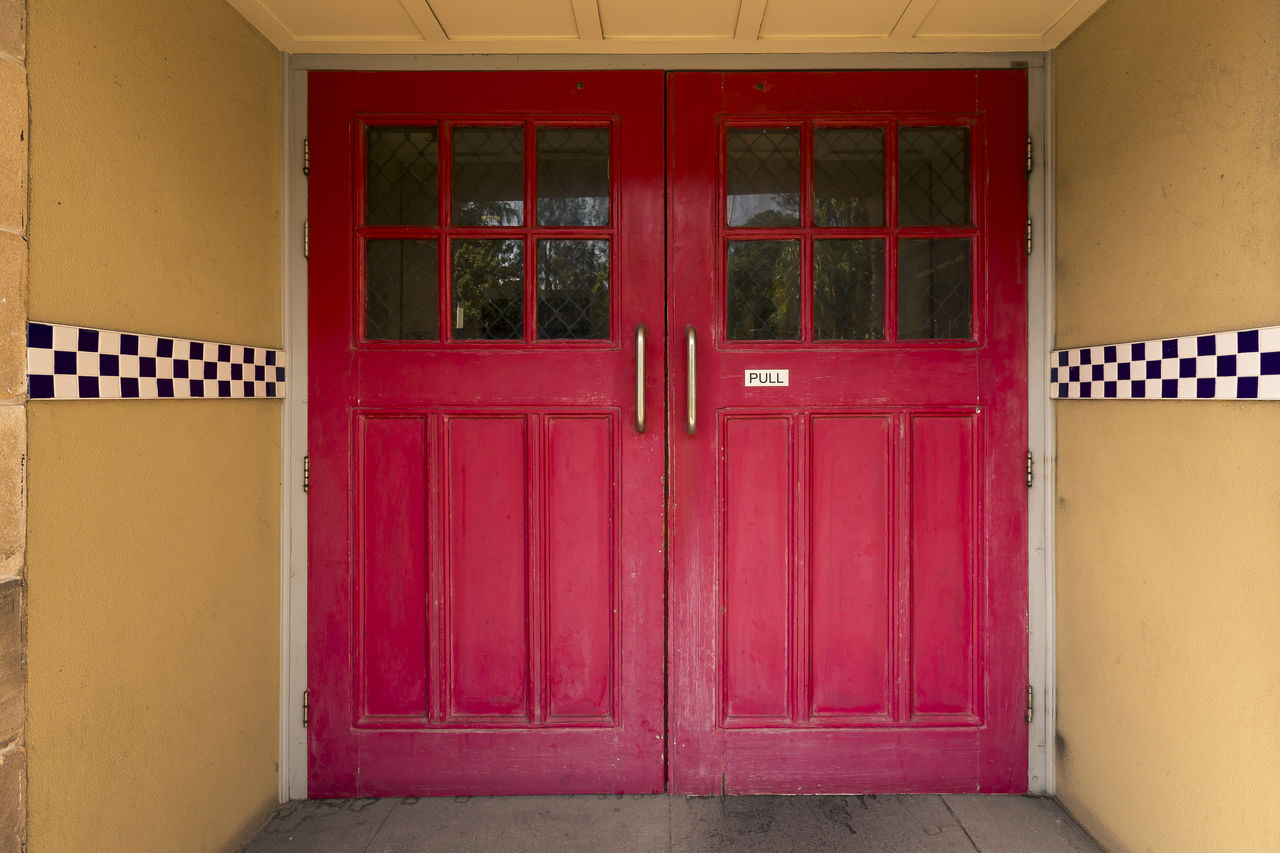 entrance, door, architecture, built structure, building exterior, closed, building, security, house, protection, red, safety, no people, day, residential district, window, wall - building feature, outdoors, open, wood - material, garage