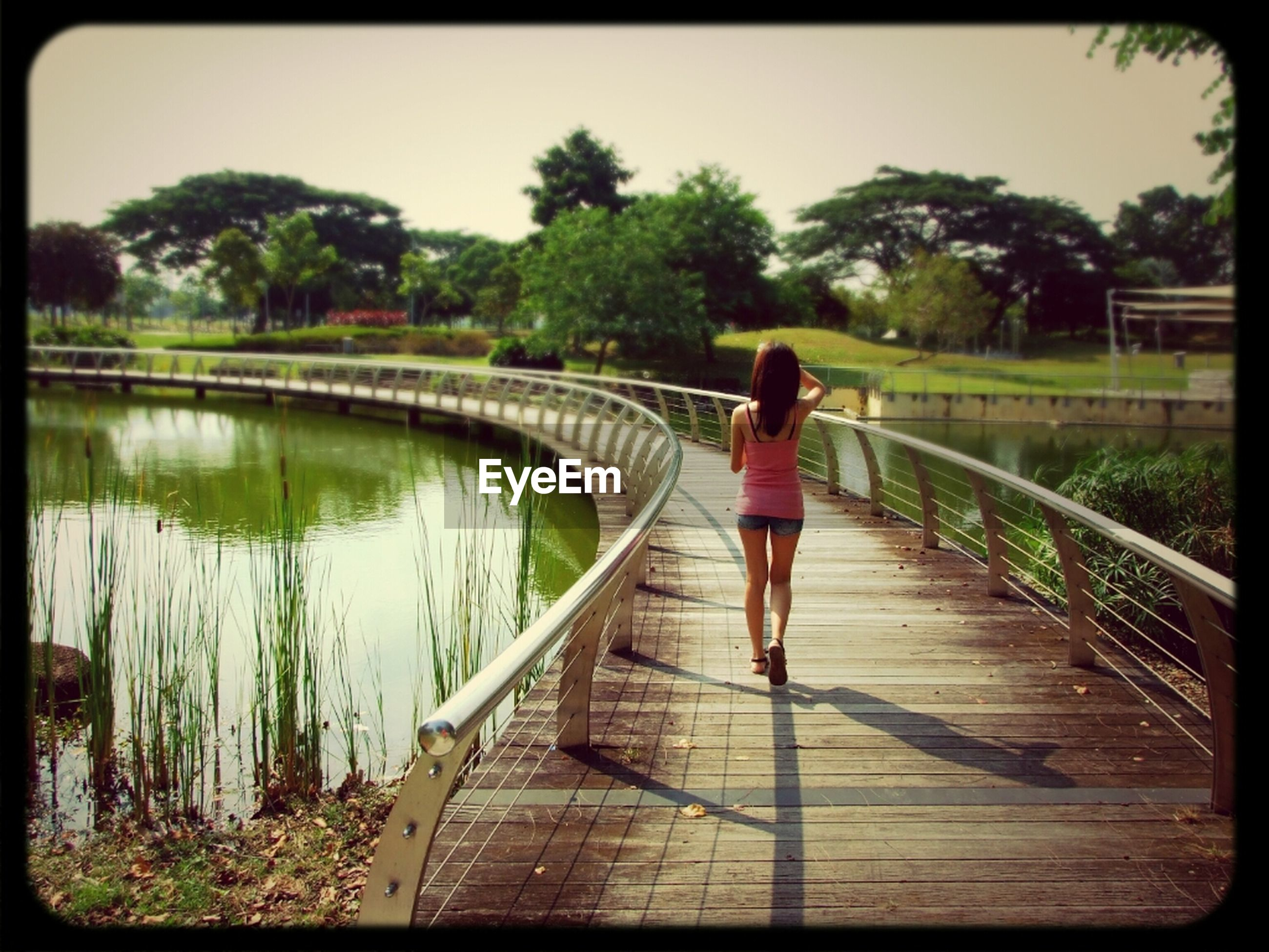 full length, tree, rear view, lifestyles, walking, leisure activity, the way forward, railing, water, casual clothing, bridge - man made structure, person, men, built structure, footbridge, standing, connection, architecture