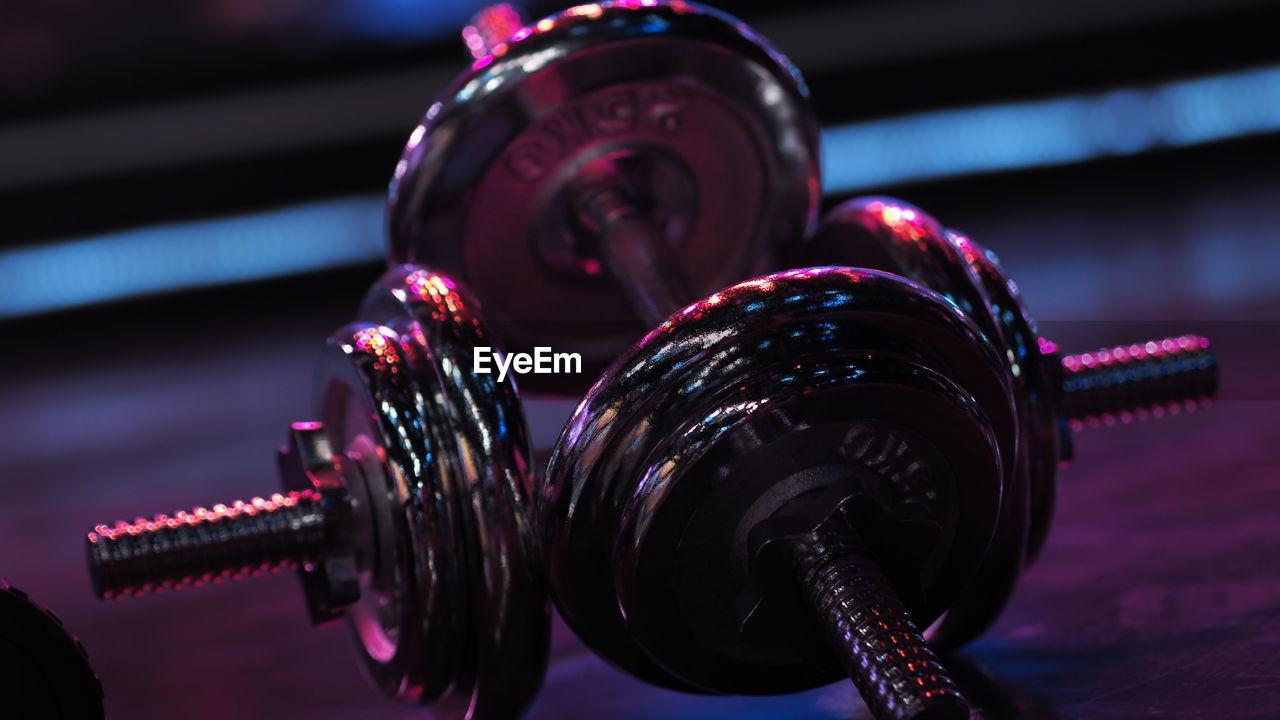 Close-up of barbells