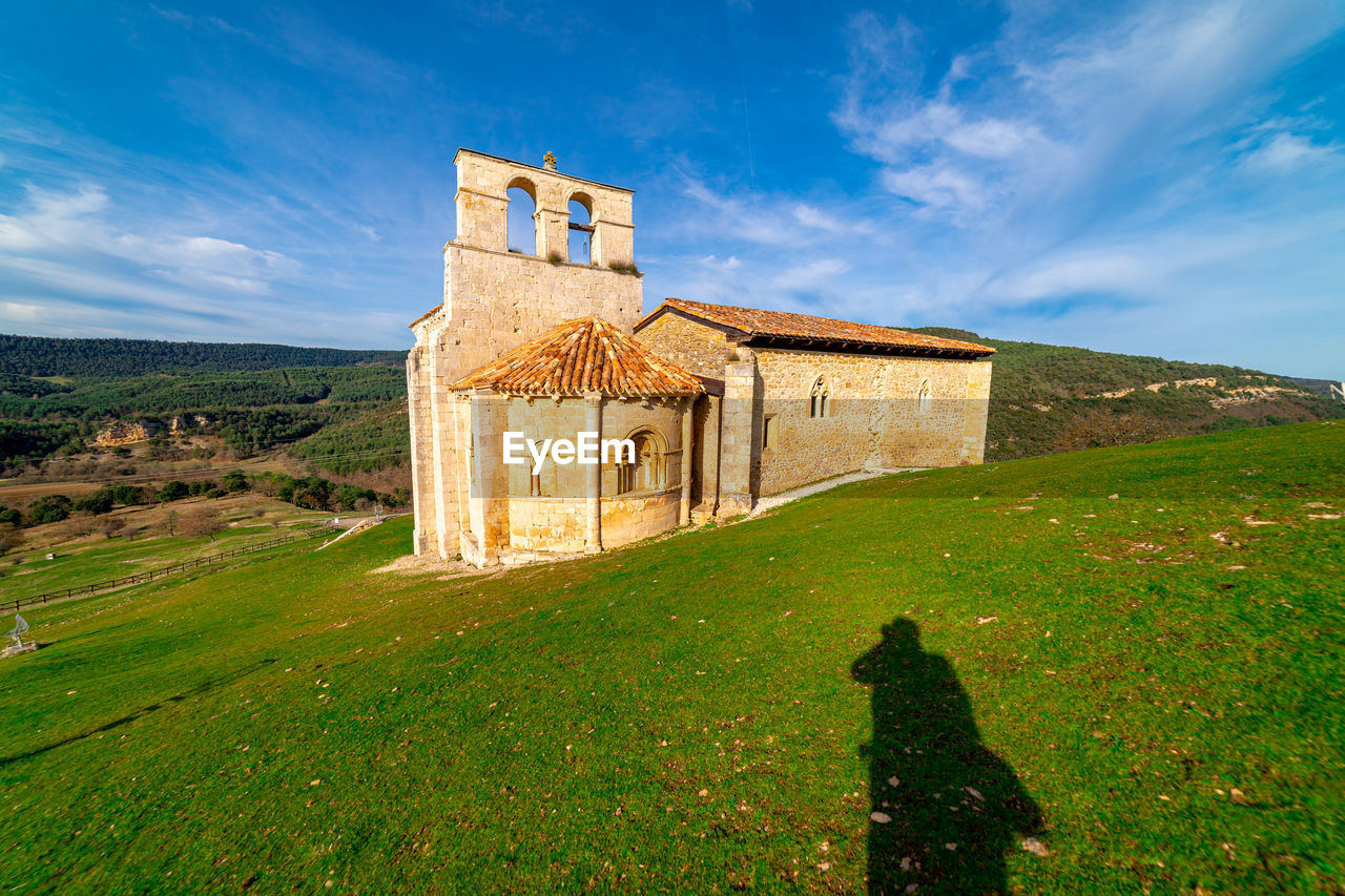 architecture, built structure, sky, building exterior, cloud - sky, grass, nature, plant, history, the past, no people, building, green color, day, land, old, travel destinations, place of worship, scenics - nature, religion, outdoors, ruined, ancient civilization