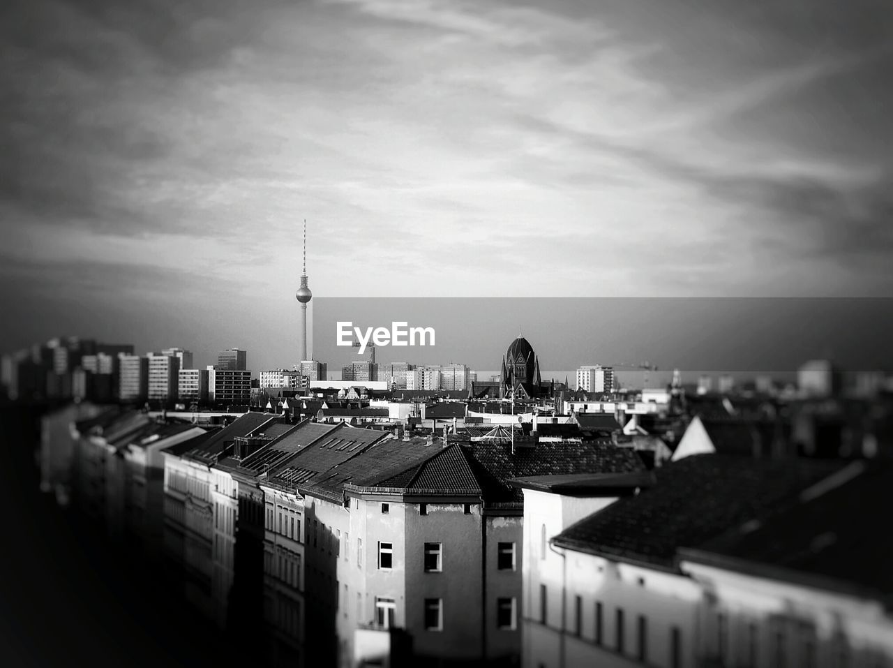 Fernsehturm and buildings in city