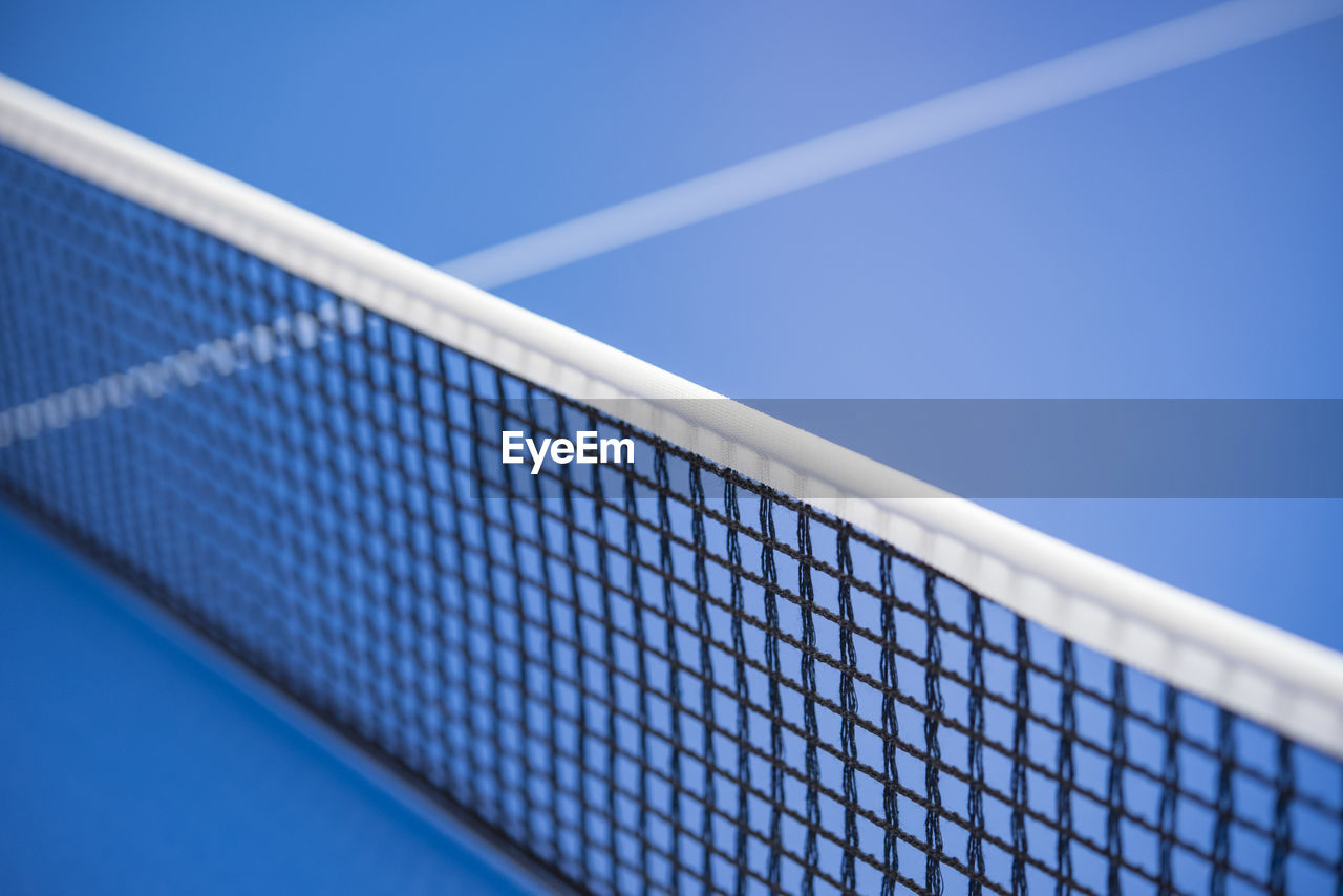 High angle view of table tennis net