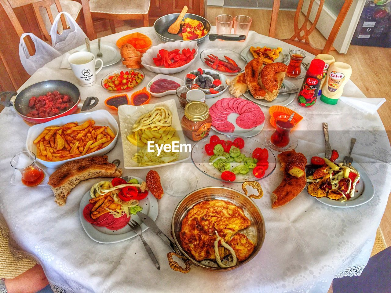 food, meat, food and drink, variation, indoors, ready-to-eat, high angle view, table, plate, no people, freshness, choice, meal, healthy eating, buffet, day
