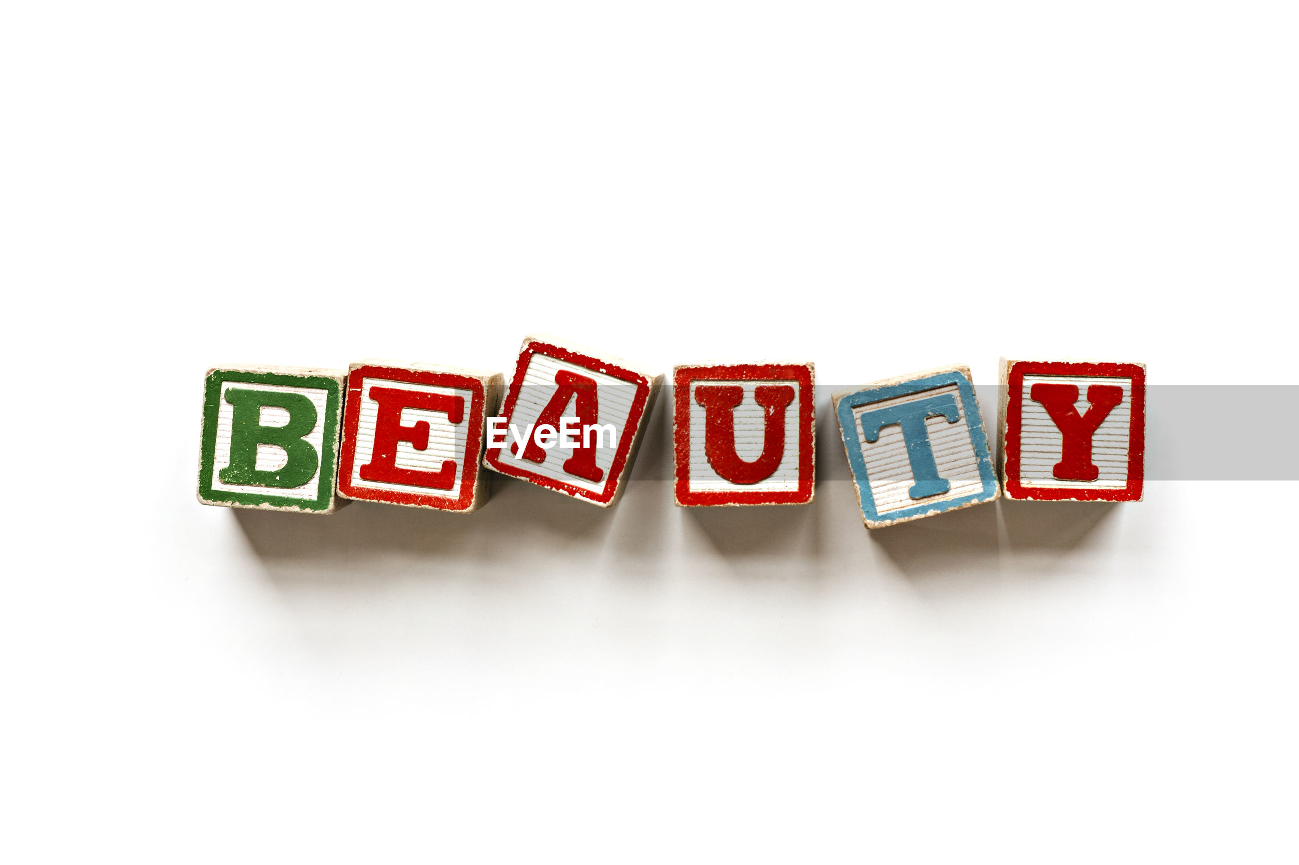 Beauty text blocks on white background