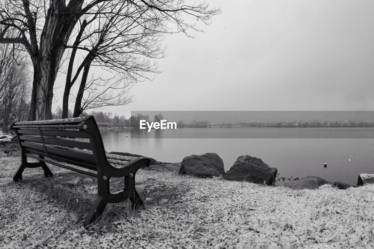 seat, water, tree, tranquility, bench, fog, nature, tranquil scene, plant, bare tree, beauty in nature, no people, lake, sky, day, scenics - nature, absence, empty, outdoors, park bench