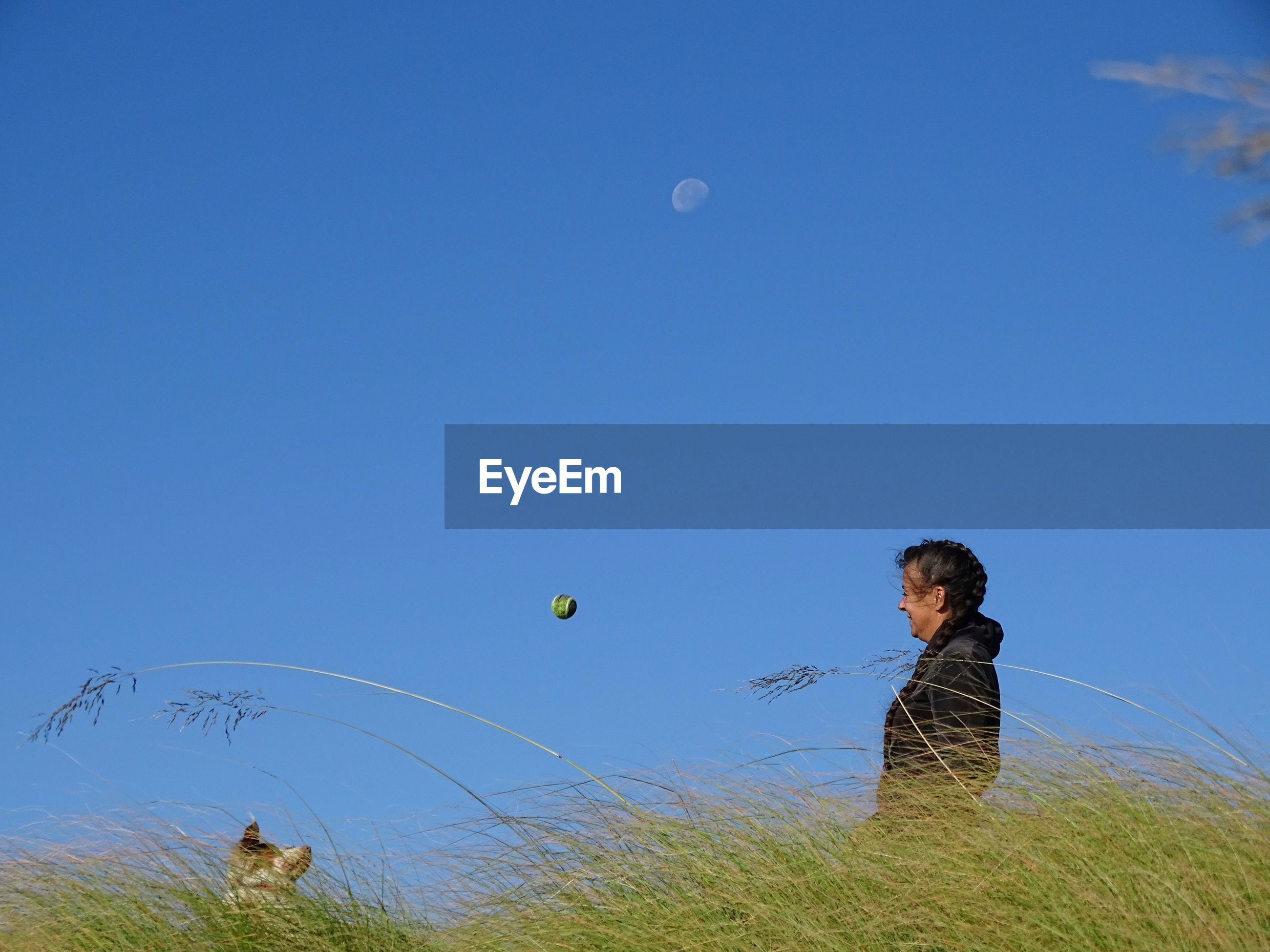 Side view of woman throwing ball towards dog on grassy field against clear blue sky