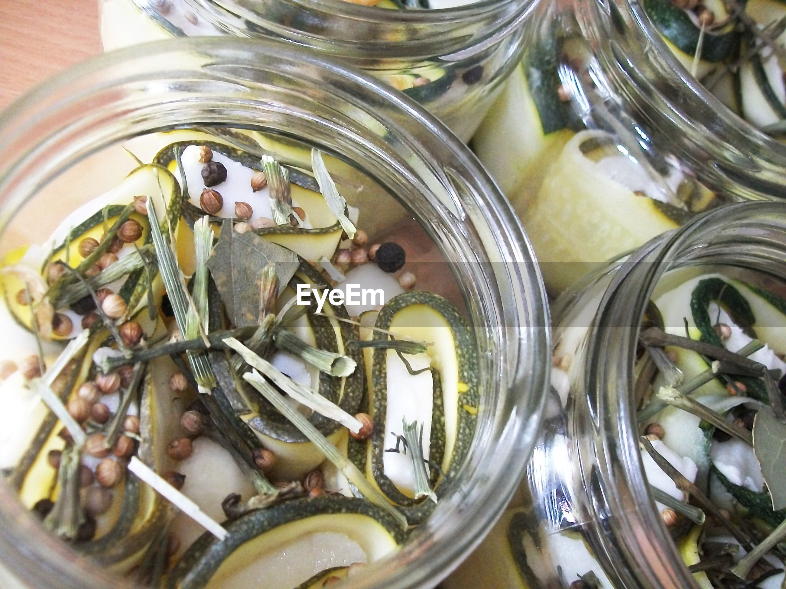 High angle view of food in jars on table