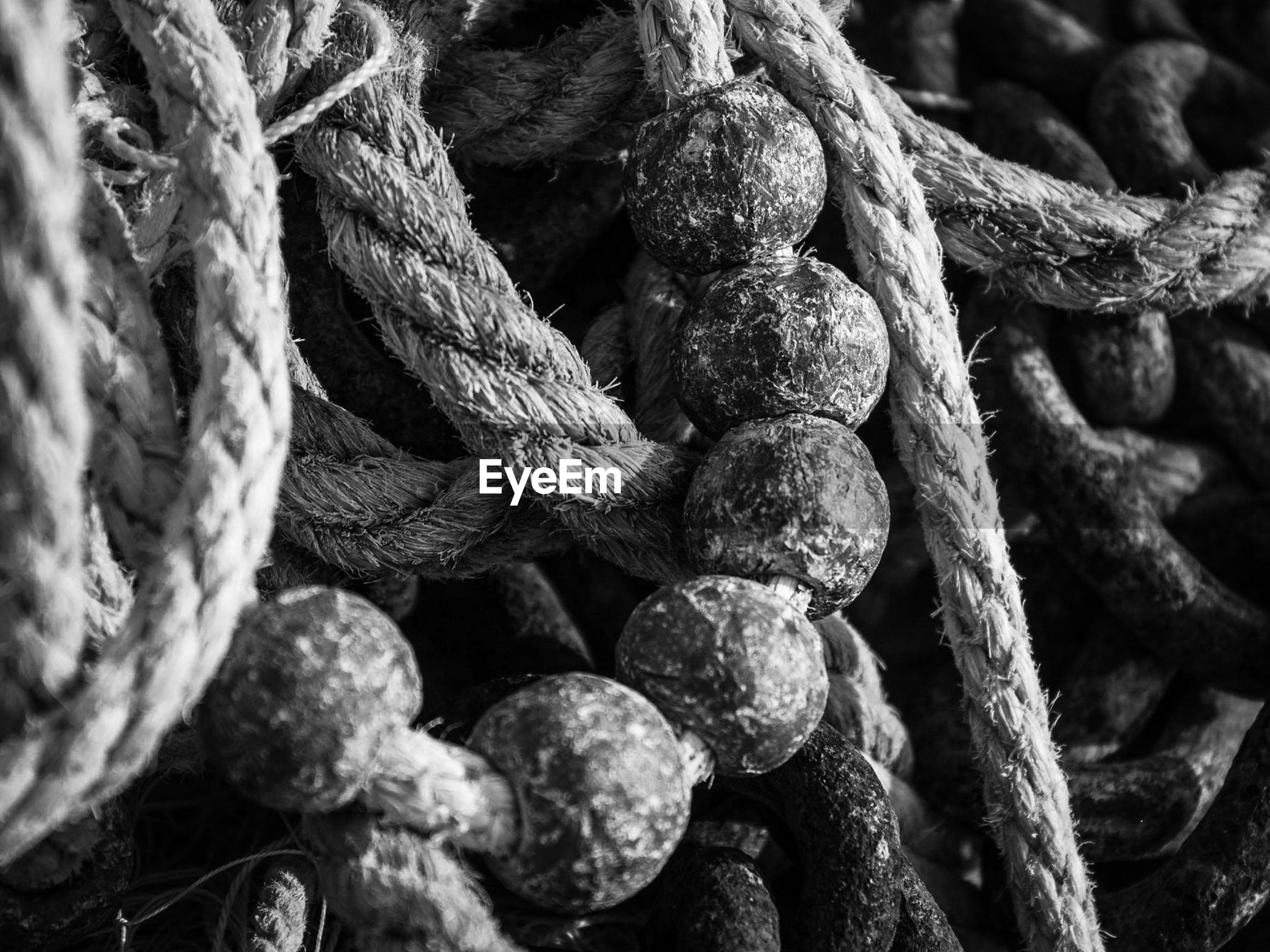 Close-up of ropes and buoys