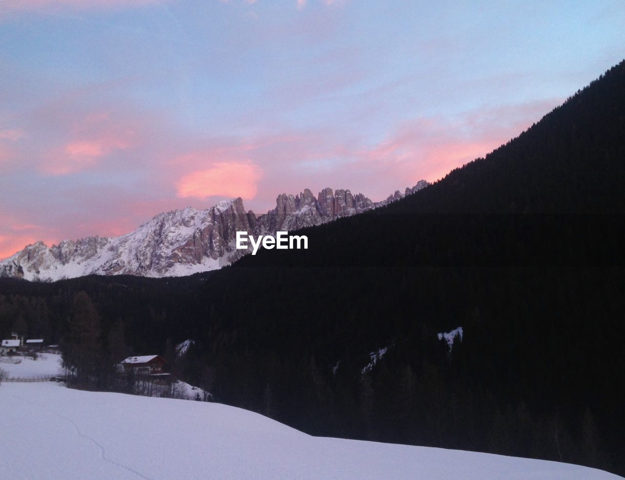 snow, winter, mountain, cold temperature, sky, nature, beauty in nature, scenics, landscape, tranquility, sunset, mountain range, outdoors, no people, range, day