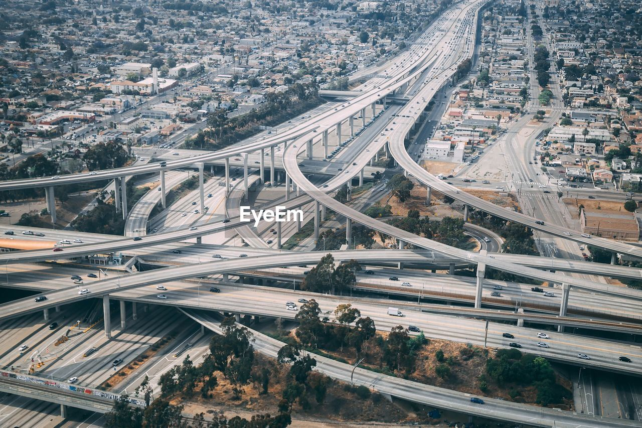 Aerial view of elevated roads in city