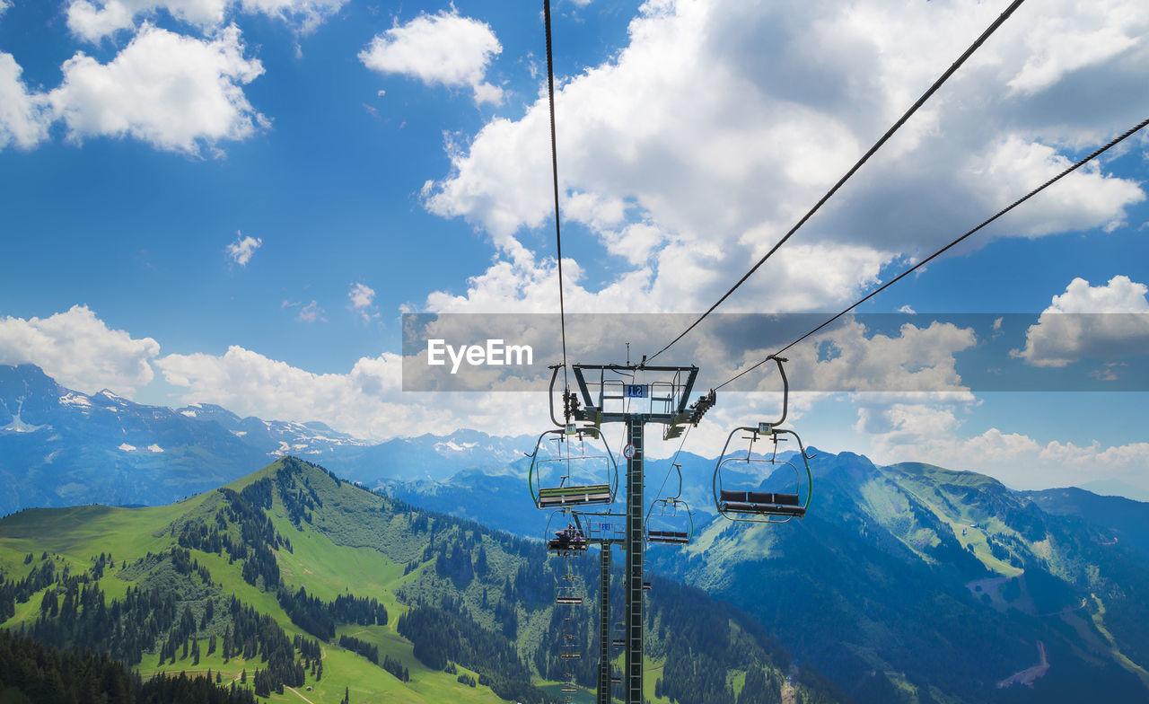 Ski Lifts Against Alps