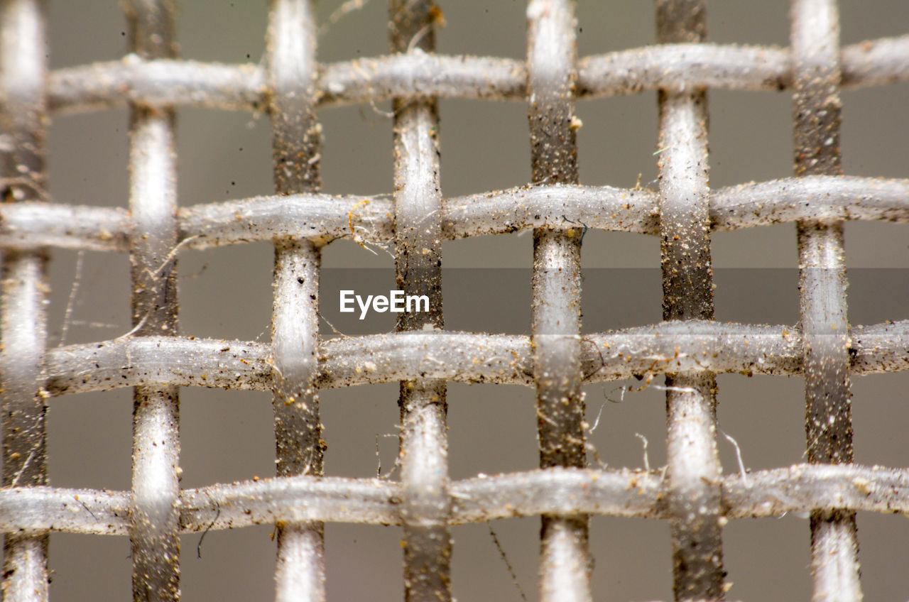 fence, no people, barrier, metal, pattern, boundary, close-up, full frame, backgrounds, day, safety, protection, security, rusty, focus on foreground, outdoors, nature, white color, selective focus, grid, iron - metal, iron, textured effect