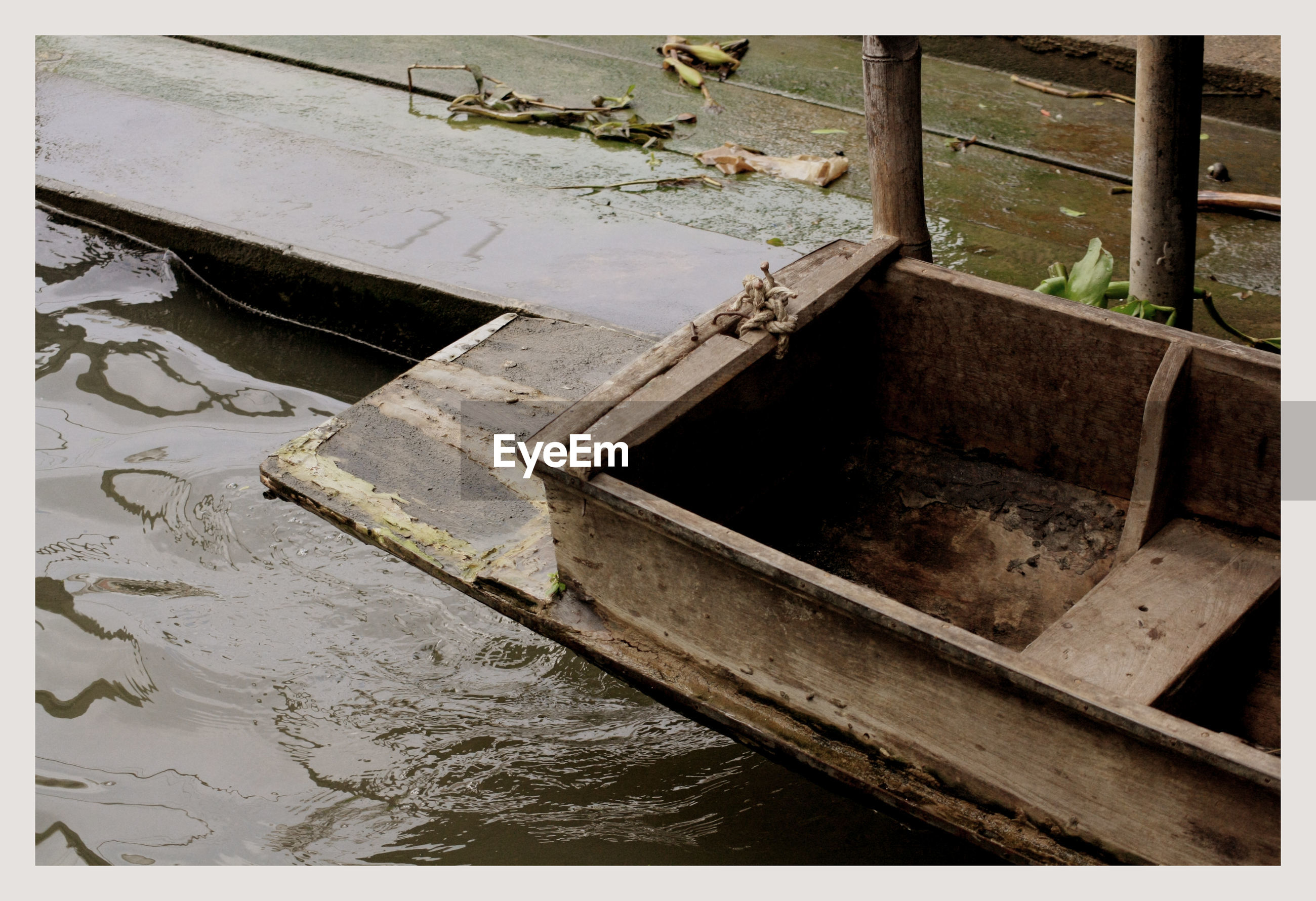 High angle view of wooden boat in river