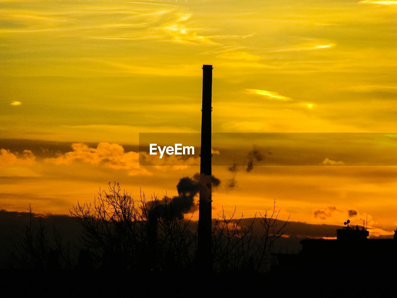 sunset, silhouette, orange color, industry, sky, yellow, factory, no people, cloud - sky, nature, scenics, smoke stack, outdoors, beauty in nature, chimney, plant