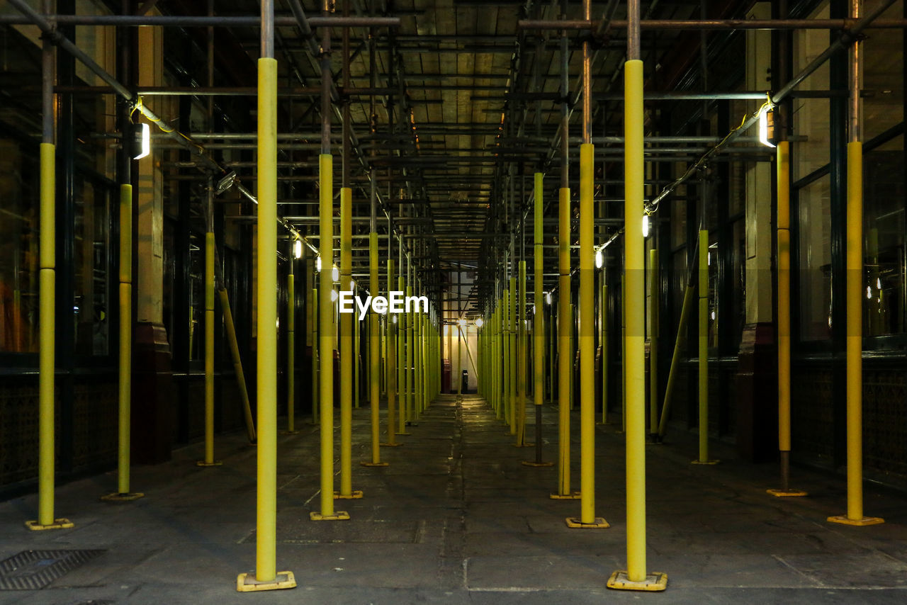 Yellow Scaffoldings In Building
