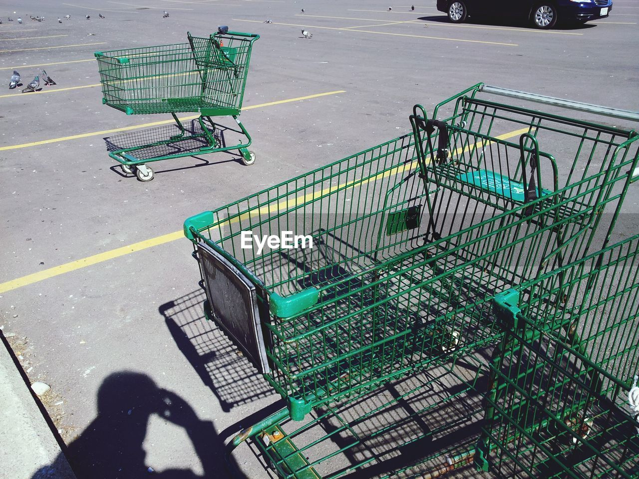 shopping cart, high angle view, day, shopping, trolley, outdoors, shadow, transportation, consumerism, retail, real people, nature, sunlight, side view, road, people, city, cart, street