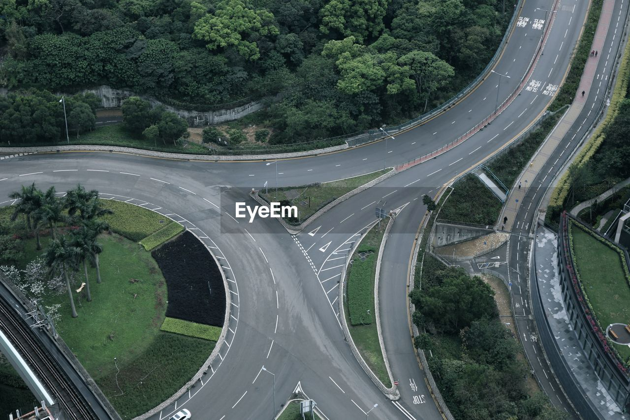 transportation, road, high angle view, connection, speed, architecture, no people, outdoors, tree, day, nature