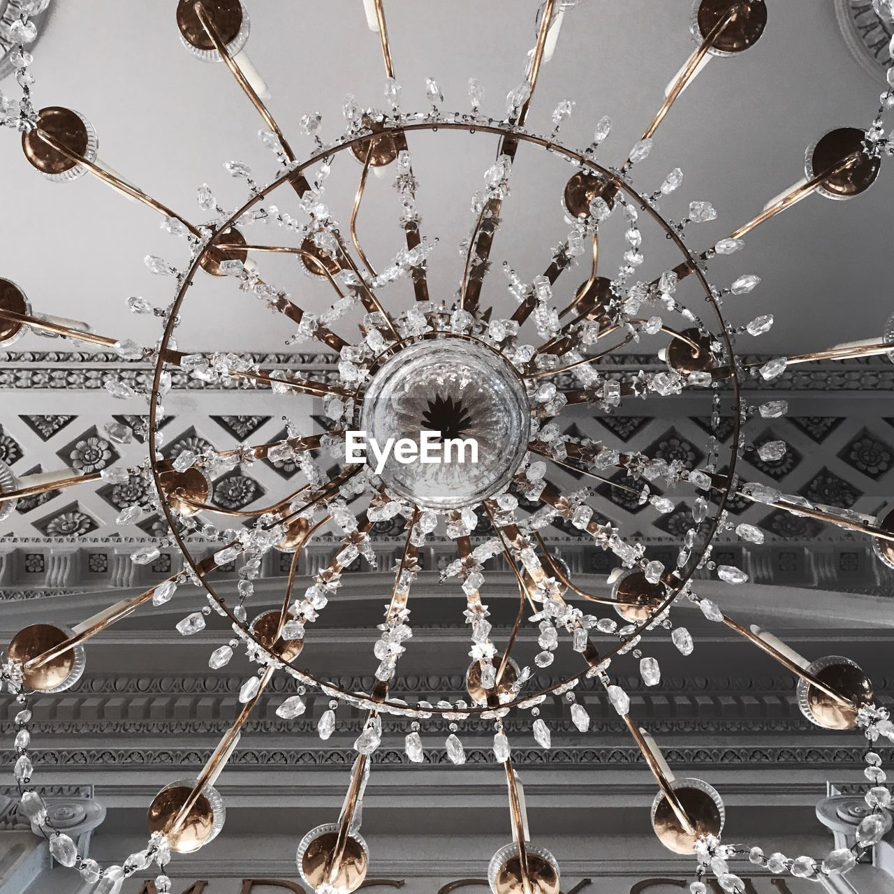 ceiling, lighting equipment, hanging, low angle view, indoors, no people, close-up, architecture, day