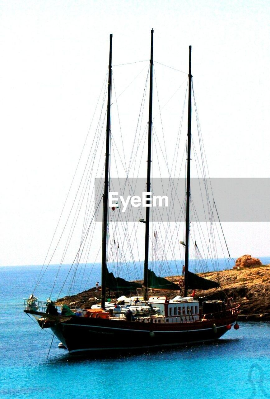 nautical vessel, transportation, sea, mode of transport, water, boat, mast, clear sky, sky, outdoors, no people, sailboat, moored, day, horizon over water, travel, travel destinations, sailing, nature, scenics, tall ship, sailing ship