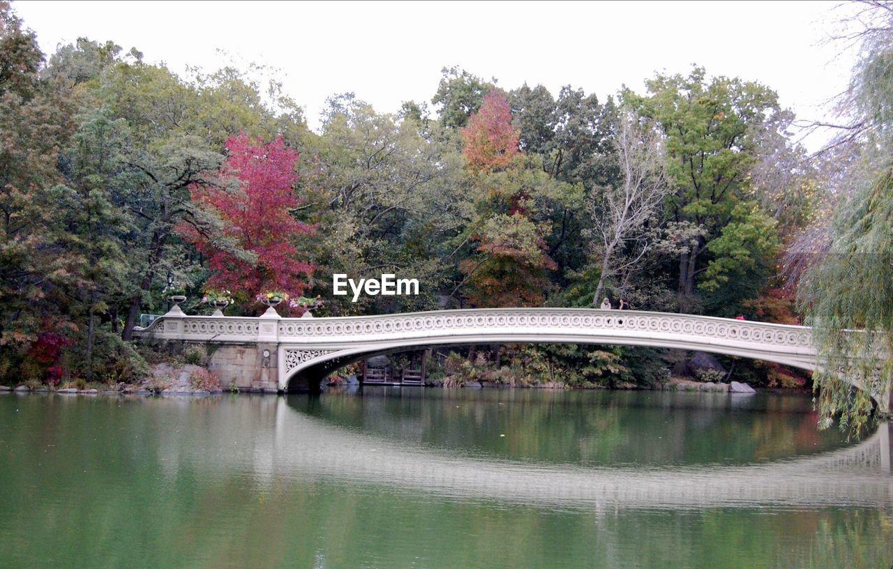 Bow Bridge Over Lake Against Trees On Field