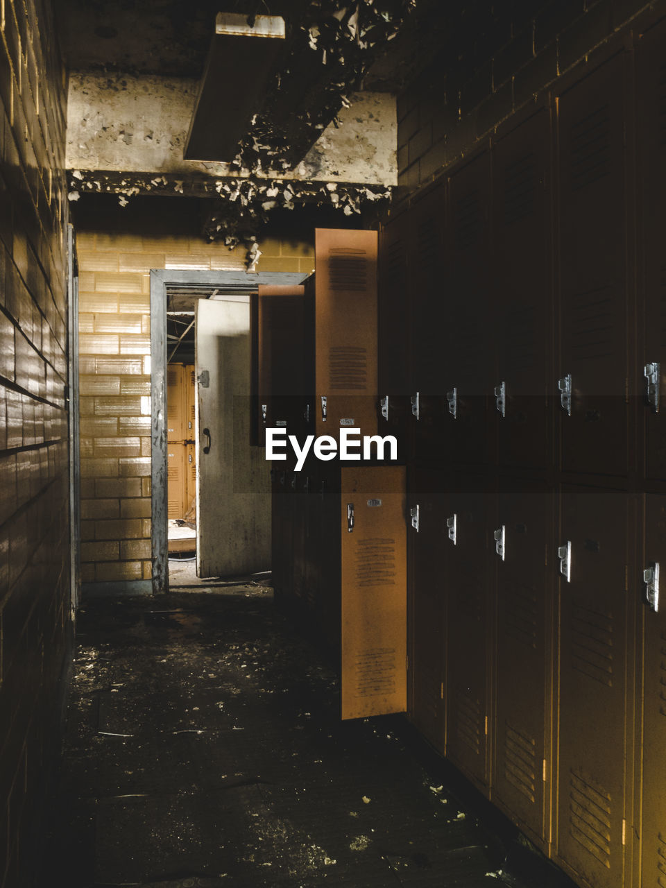 View Of Lockers In Abandoned Building