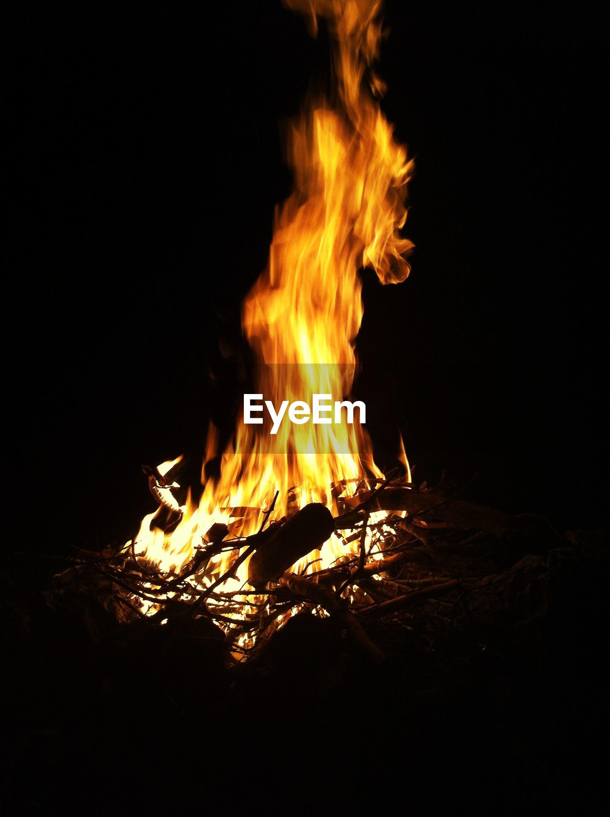 burning, flame, night, heat - temperature, fire - natural phenomenon, bonfire, glowing, motion, fire, copy space, firewood, dark, campfire, long exposure, close-up, studio shot, black background, orange color, heat, no people