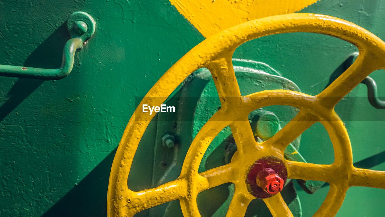 Close-up of yellow valve