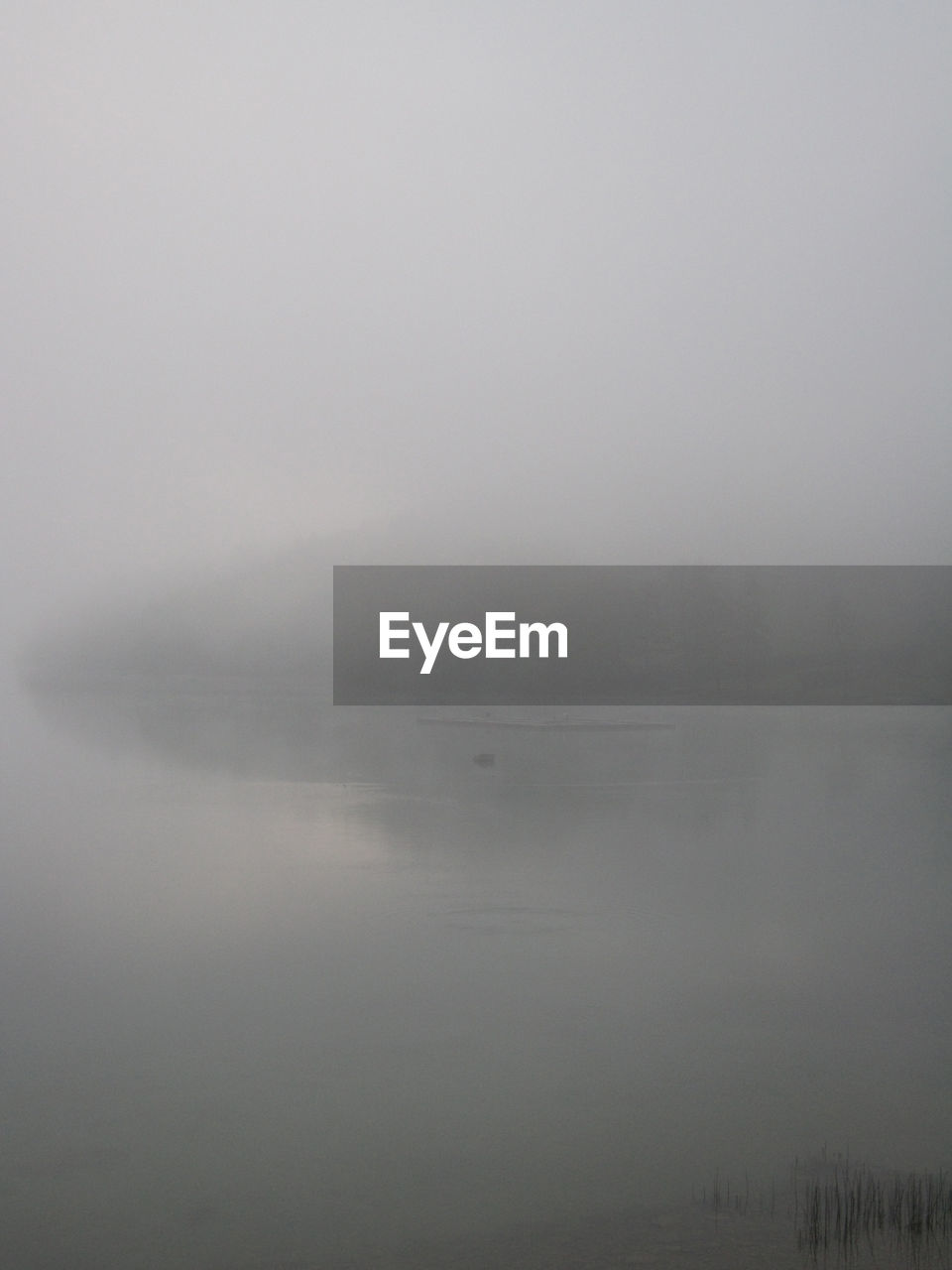 fog, tranquility, water, tranquil scene, sky, beauty in nature, scenics - nature, no people, copy space, idyllic, nature, non-urban scene, day, hazy, lake, waterfront, reflection, outdoors