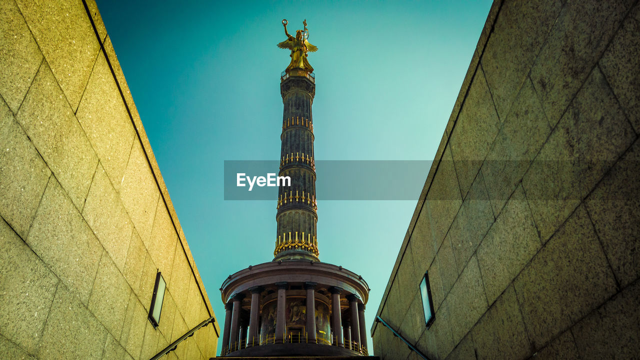 Low angle view of victory column from berlin