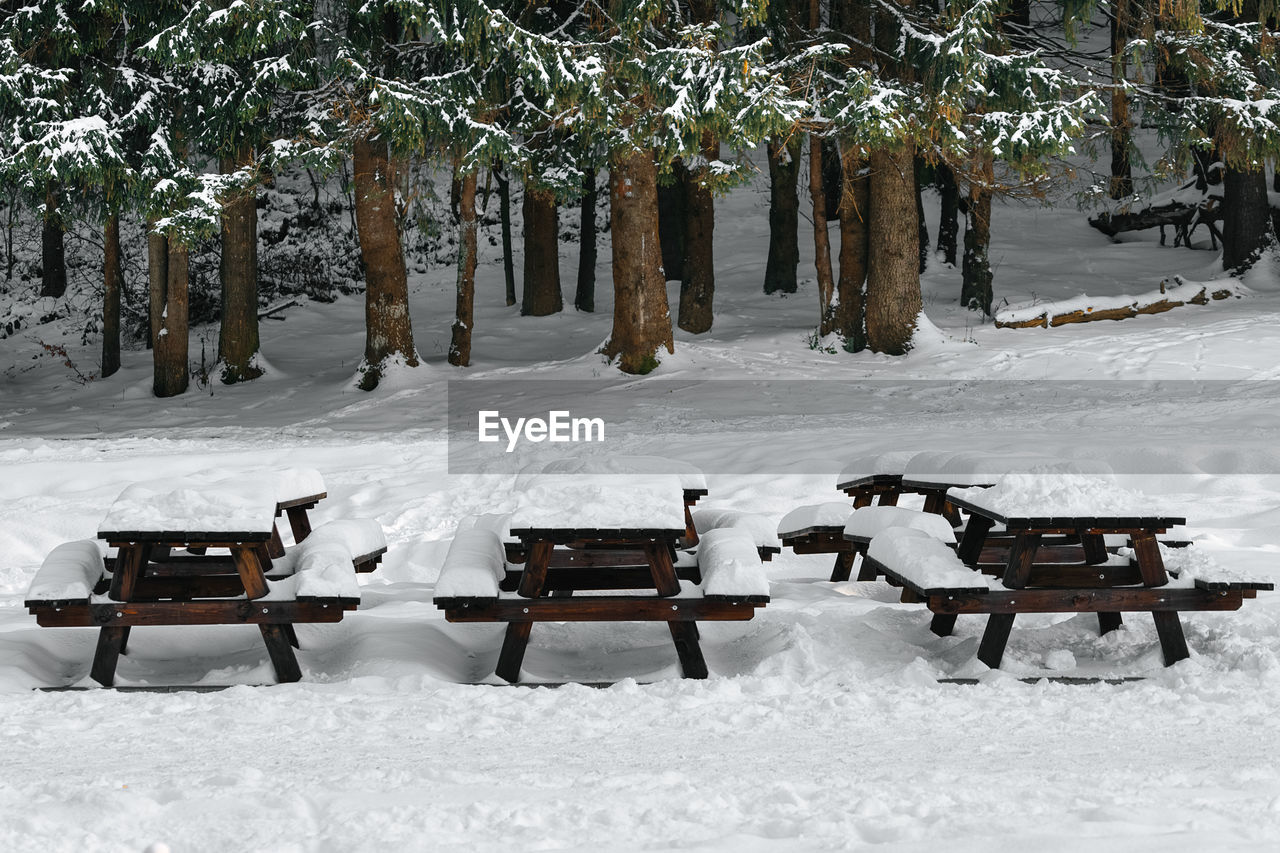 Empty Benches On Snow Covered Field During Winter