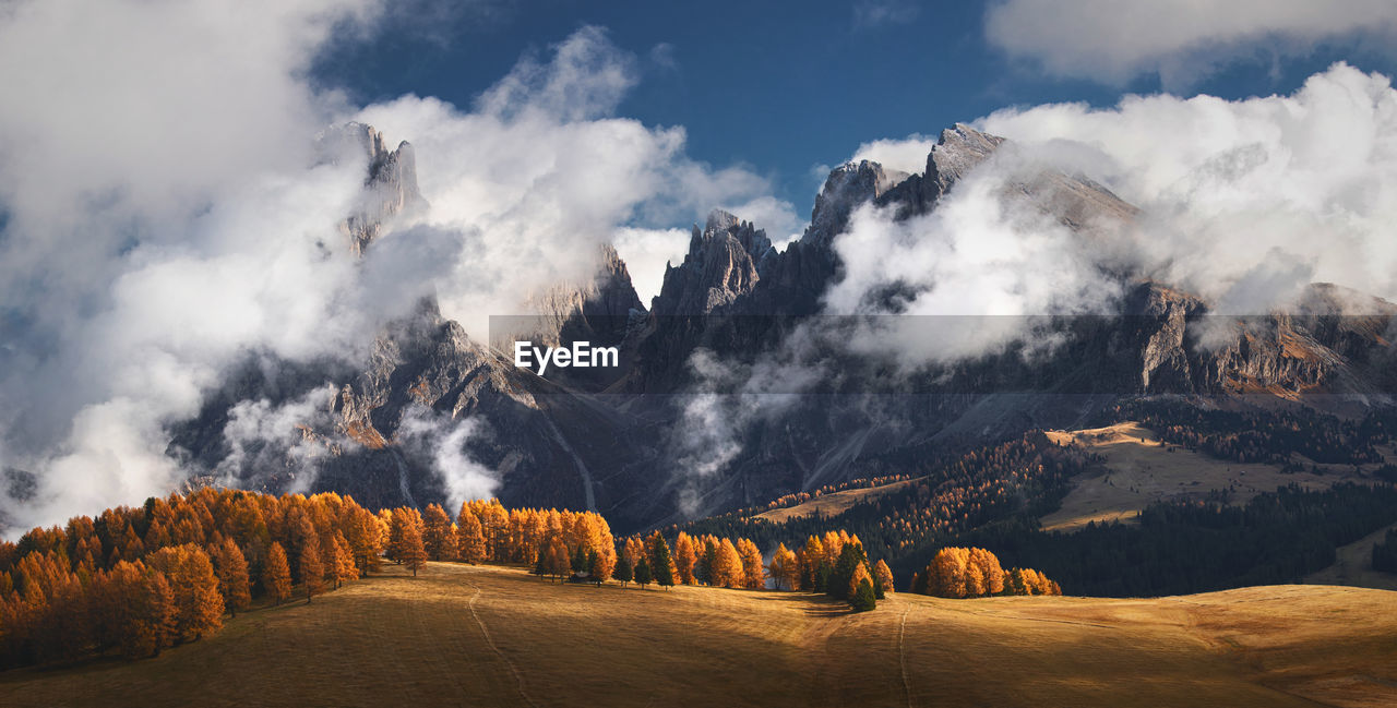 Panoramic view of landscape and mountains against sky