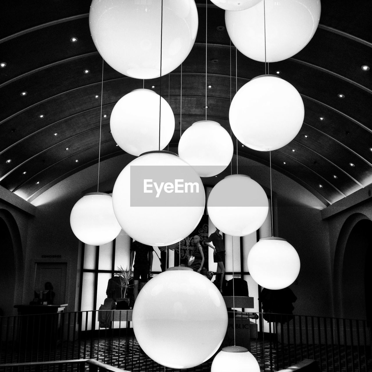 indoors, ceiling, illuminated, lighting equipment, balloon, architecture, real people, day